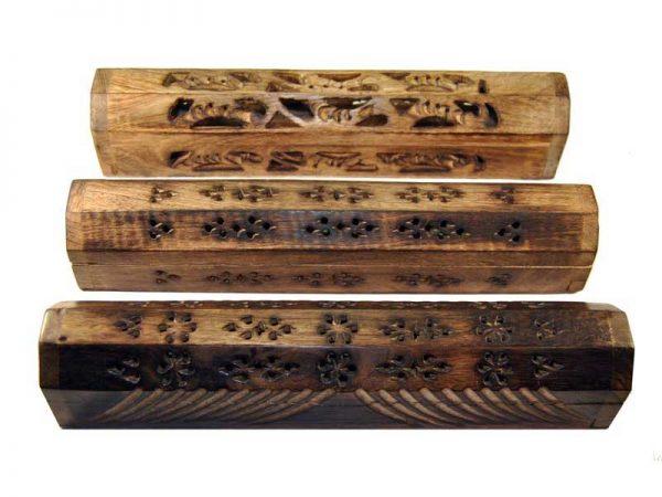 Boite porte encens en bois avec réserve Finition antique