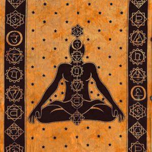 Tenture 7 Chakras - Tenture indienne de Méditation Couleur orange