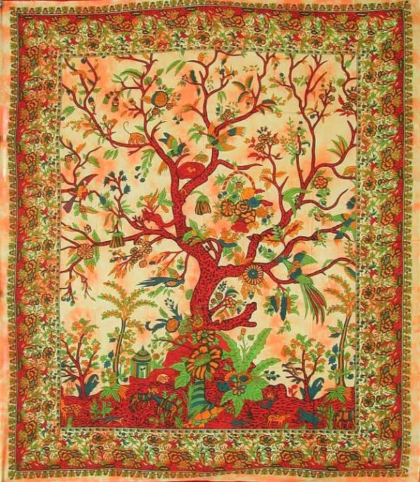 Tenture indienne Arbre de Vie - couleur orange Tree of life