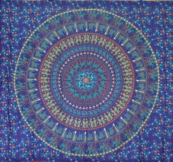 Tenture Indienne Badmeri Bleu
