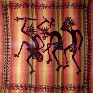 Tenture indienne ethnique - Guerriers