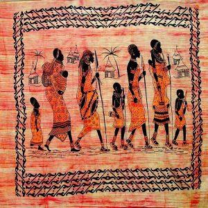 Tenture indienne ethnique - Village africain