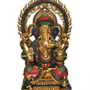 Statue de Ganesh Bronze et céramique - Inde