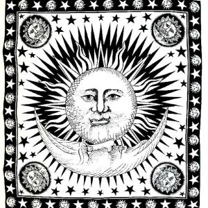 Tenture Soleil Lune - Noire et blanche