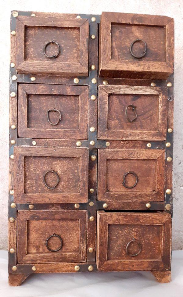 Petit meuble en bois Indien à tiroirs