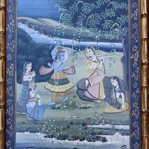 Peinture Rajput - Radha et Krishna - Cadre bambou or